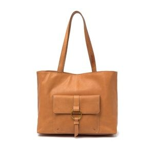 Frye Gold Ring Tote Tan Brown Camel Leather